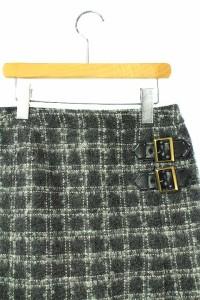 ザ・スーツカンパニー THE SUIT COMPANY スカート ひざ丈 台形 チェック ウール モヘヤ混 40 グレー レディース