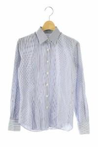Maker's Shirt 鎌倉 シャツ 長袖 ストライプ 9 青 /Y★  レディース ベクトル【中古】