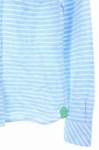 ラブレス LOVELESS シャツ ボタンダウン ボーダー リネン混 長袖 36 水色 /YS ■AC レディース ベクトル【中古】