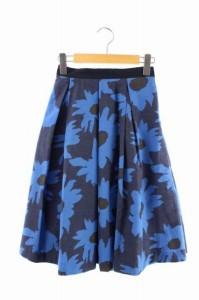 ナチュラルスタンス リーブル natural stance Libre スカート ロング フレア 花柄 S 紺 /HA ■AC レディース ベクトル【中古】