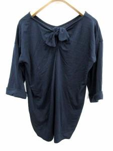 未使用品 ショコラ フィネ ローブ chocol raffine robe カットソー プルオーバー バッグリボン 七分袖 F 紺 /KA8 レディース
