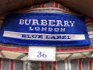 バーバリーブルーレーベル BURBERRY BLUE LABEL シャツ ストライプ 総柄 長袖 36 赤 グレー /SN68 ● レディース ベクトル【中古】