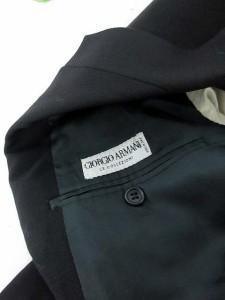 ジョルジオアルマーニ GIORGIO ARMANI ジャケット テーラード 総裏地 ウール シルク混 50 黒 ブラック /KH ● メンズ ベクトル【中古】