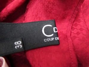 クードシャンス CdeC COUP DE CHANCE ブラウス 総柄 シースルー フリル 長袖 38 赤 /SN25 ● ■AC レディース ベクトル【中古】