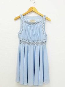 702aa5c68b043 ラグナムーン LagunaMoon ワンピース ドレス ノースリーブ ショート丈 ビーズ 装飾 シフォン 水色 F 春夏 レディース