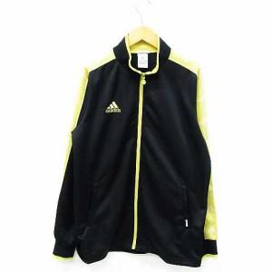 a16b1afe3eb10 アディダス adidas ジャージ ジャケット 上 ジップアップ ライン ロゴ刺繍 長袖 黒 黄色 OT レディース