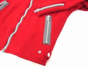 シップスジェットブルー SHIPS JET BLUE ライダースジャケット ジップアップ ダブルファスナー ウール 赤 レッド L 0116 メンズ