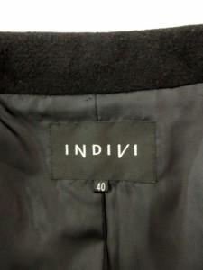 インディヴィ INDIVI コート スタンドカラー ハーフ アンゴラ 40 黒 ブラック /mh レディース ベクトル【中古】
