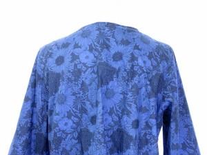 MINATONO TENRANKAI ワンピース チュニック ミニ Vネック 七分袖 花柄 0 青 ブルー /yy レディース ベクトル【中古】