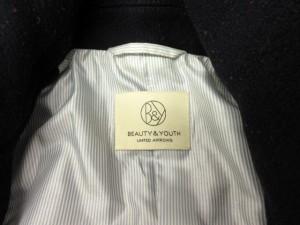 B&Y ユナイテッドアローズ BEAUTY&YOUTH ビューティー&ユース ピーコート Pコート フード ウール XL 紺 ネイビー /yy メンズ