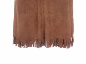ヨシエイナバ yoshie inaba スカート フレア ロング レザー 刺繍 フリンジ スエード 茶 ブラウン /yy   レディース