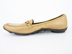 プラダ PRADA ドライビングシューズ 靴 レザー 37.5cm ベージュ /yy レディース