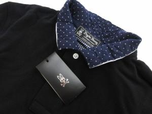 未使用品 サイコバニー Psycho Bunny ポロシャツ 半袖 切替 コットン M 黒 ブラック aky メンズ