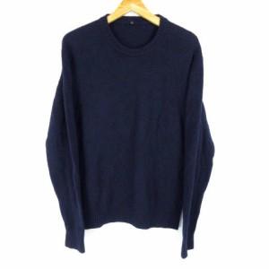 無印良品 良品計画 セーター 長袖 丸首 ニット ウール ネイビーXL 大きいサイズ レディース ベクトル【中古】