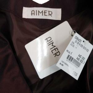 608b1cd49dabb 未使用品 エメ AIMER カラードレス ワンピース ノースリーブ プリーツ ひざ丈 リボン 光沢 日本製 エンジ 黒 9