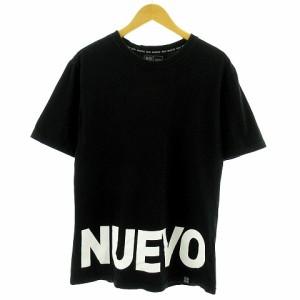 【中古】NUEVO Tシャツ 韓国 韓流 半袖 ロゴ ブラック 黒 ホワイト 白 メンズ