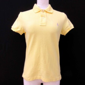4a1c97a79b8d3 ラルフローレン RALPH LAUREN ポロシャツ 半袖 ロゴ刺繍 ボタン 綿 コットン 黄色 イエロー M レディース