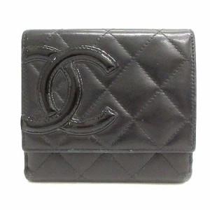 fca77b588947 シャネル CHANEL カンボンライン 財布 二つ折り Wホック エナメルレザー ブラック 黒 A50099 /YO20 レディース