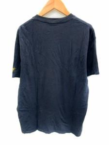 アヴィレックス AVIREX Tシャツ カットソー Uネック 半袖 文字 イラスト L 紺 ネイビー /NS19 メンズ ベクトル【中古】