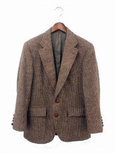 ハリスツイード Harris Tweed ジャケット ブレザー テーラード ウール ツイード 総柄 シングル 2B 37 ブラウン 茶 /IT6 ベクトル【中古】