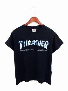 スラッシャー THRASHER Tシャツ カットソー 丸首 ロゴ 英字 プリント 綿 コットン 半袖 S 紺 ネイビー /TT14 メンズ