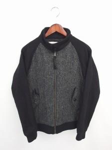 ハリスツイード Harris Tweed ジャケット ブルゾン ジップアップ ツイード ウール 長袖 S 灰 黒 グレー ブラック /TT22 ベクトル【中古】