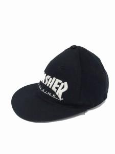 【中古】スラッシャー THRASHER キャップ 帽子 ベースボールキャップ BBキャップ 毛 ウール ロゴ F ブラック 黒 /KT60 メンズ
