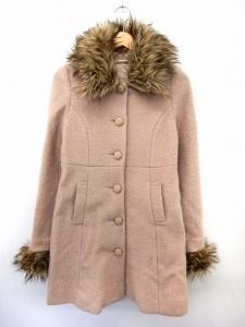 【中古】ダズリン dazzlin コート アウター ステンカラーコート ウール混 ポケット フェイクファー M ピンクの画像