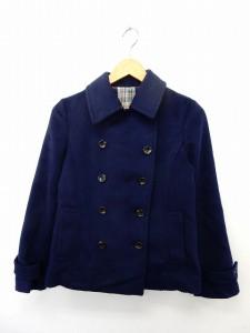 【中古】ビス ViS コート アウター ステンカラーコート コーデュロイ ダブルボタン ポケット M ネイビー 紺 /ST9の画像