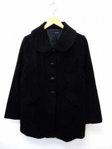【中古】GOOD DAY HOUSE コート アウター ステンカラー 丸襟 ポケット 無地 シンプル LL ブラック /ST21 レディースの画像