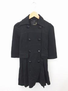 【中古】ローズブリット rosebullet コート アウター ステンカラー ロング ダブルボタン ウール混 七分袖 1 黒の画像