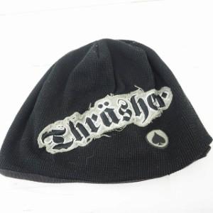 【中古】スラッシャー THRASHER 帽子 キャップ ニット帽 ニット ロゴ 刺繍 ブラック 黒 /MT34 メンズ
