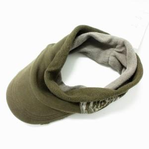 【中古】未使用品 スラッシャー THRASHER サンバイザー ダメージ加工 ロゴ 帽子 カーキ /MF メンズ