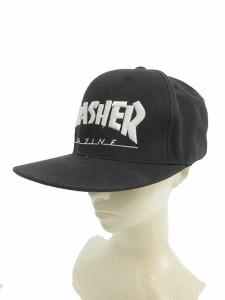 【中古】スラッシャー THRASHER 帽子 キャップ 刺繍 黒 ブラック/JN24 レディース