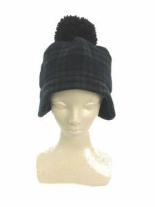 3ee897938b779 カオリノモリ カオリノモリ 帽子 ニット帽 耳あて チェック ウール 紺 ネイビー  RT3 レディース