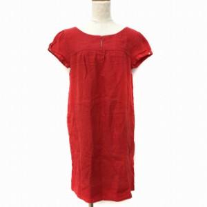 5e18bbe9dfa77 ザラ ベーシック ZARA BASIC ワンピース ひざ丈 Iライン 半袖 麻 リネン 赤 レッド XS レディース