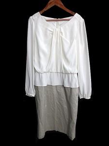f0c78615bb64a ボディドレッシングデラックス BODY DRESSING Deluxe ワンピース ひざ丈 長袖 36 白 ホワイト  AKK レディース