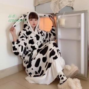 ルームウェア ワンピース パジャマ 着ぐるみ 大人用 もこもこ 大人用 パジャマ レディース お祭り イベント パジャマ 可愛い 屋着に 乳牛