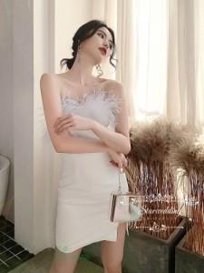 ウェディングドレス カクテルドレス パーティードレス 結婚式 タイトドレス スリット タイトスカート マイクロミニ ミニドレス キャバド