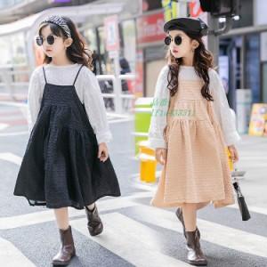 ジュニア服 スカートセット 2点セット 上下セット 女の子 ガール 上品 ブラウス 2色 おしゃれ 長袖 ゆったり キャミワンピース 可愛い カ