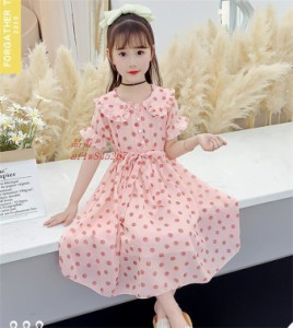 ワンピース 女の子 半袖 洋服 ドット柄 綿 ガールズ 夏 可愛い フリル 子供服