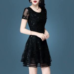 a52d78b7a0eda ワンピース スパンコール 半袖スリーブ ドレッシーワンピ 大人 シック 上品 エレガントドレス