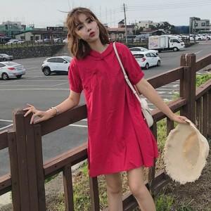 11a73a91f03f7 ワンピース 半袖 ひざ丈 Aライン 大人かわいい チャイナ風 カジュアル ドレス ワンピ
