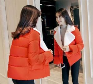ジャケット Vネック 長袖 アウター 防寒 あったか 秋冬 レディース 女性 大きいサイズ ショート丈 グリーン 赤 黒 ピンク