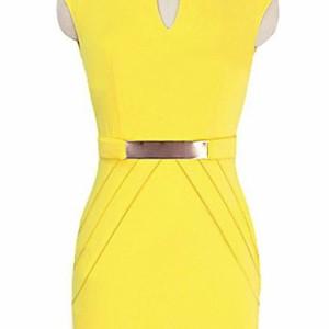 ボディコン ドレス セクシー タイト 胸元 ジッパー 膝丈 ワンピース メタルウエスト インテリア ペンシル ワンピース 大きいサイズ