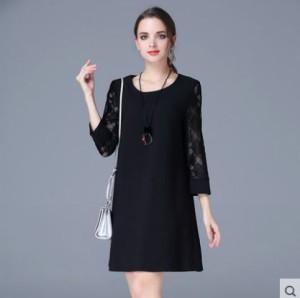 385d973b42098 ワンピース シースルー フォーマル 大きいサイズ 春物 レディース 女性 七分袖 ミニ 黒 ブラック