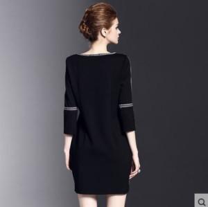 ワンピース 刺繍 フォーマル シンプル 大きいサイズ 春物 レディース 女性 七分袖 ミニ 黒 ブラック
