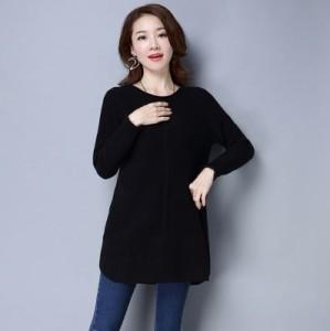 セーター 春物 ロング 長袖 シンプル カラフル 大きいサイズ レディース 女性 パープル ピンク 赤 黒