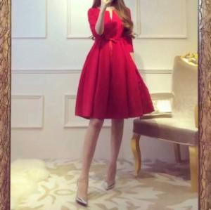 72743f7f65c12 ワンピース ハイウエスト パーティー フォーマル 大きいサイズ 春物 七分袖 ミニ レディース 女性 赤 黒