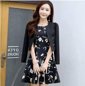 ツーピーススカート 夏物 ワンピース 花柄 ノースリーブ ジャケット 大きいサイズ レディース 女性 ブラック ピンク